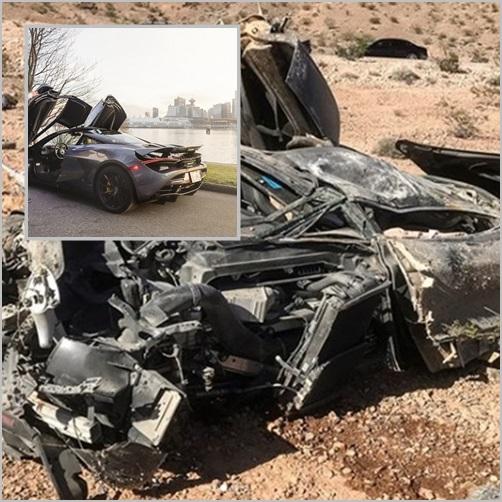 (ภาพเล็ก)ภาพประกอบทางอินเตอร์เน็ต ซูปเปอร์คาร์  โทเทลด์ แม็คลาเรน 720(The totaled McLaren 720)  (ภาพใหญ่) สภาพซากรถแม็คลาเรนที่ตำรวจทางหลวงรัฐเนวาดาพบสัปดาห์ที่ผ่านมา