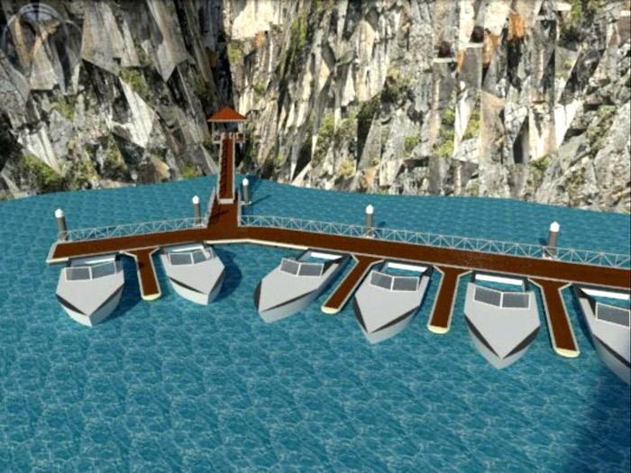 ภาพ 3 มิติ แบบท่าเทียบเรือสู่อ่าวมาหยา