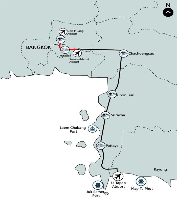 แผนผังเส้นทางรถไฟเชื่อม 3 สนามบิน