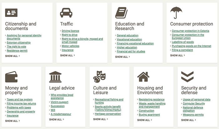 รูปที่ 2: บริการ e-governance ของสาธารณรัฐเอสโตเนียผ่านเว็บไซต์กลาง