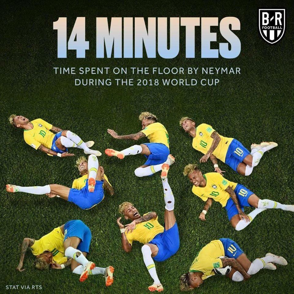 """14 นาทีระยะเวลารวมที่ """"เนย์มาร์"""" นอนกลิ้งในฟุตบอลโลก"""