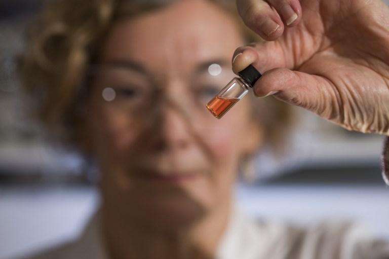 จาเน็ต โฮป (Janet Hope) นักวิจัยจากวิทยาลัยวิจัยวิทยาศาสตร์โลก ของมหาวิทยาลัยแห่งชาติออสเตรเลีย ชูให้เห็นของเหลวสีชมพูซึ่งเป็นสีธรรมชาติที่เก่าแก่ที่สุดเท่าที่เคยพบมา (Lannon Harley / AUSTRALIAN NATIONAL UNIVERSITY / AFP)