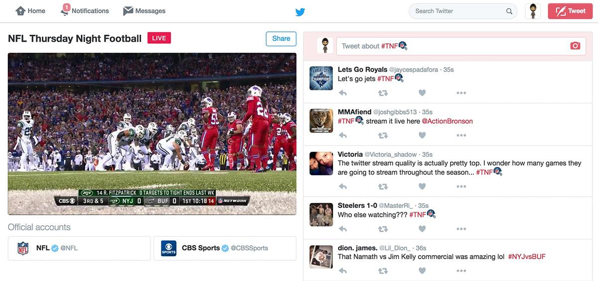 NFL ไปถ่ายใน ทวิตเตอร์