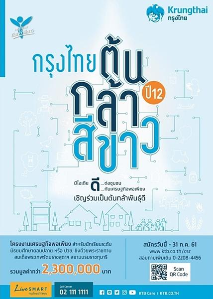 """""""กรุงไทย ต้นกล้าสีขาว ปี12"""" หนุนเยาวชนคนรุ่นใหม่พลิกฟื้นชุมชนด้วยวิถีเศรษฐกิจพอเพียง"""