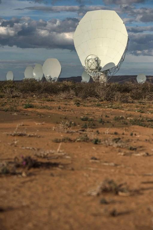 จานรับสัญญาณของกล้องโทรทรรศน์วิทยุเมียร์แคทที่กินพื้นนับตารางกิโลเมตร ซึ่งเป็นส่วนหนึ่งของกล้องโทรทรศน์วิทยุสกา (MUJAHID SAFODIEN / AFP)