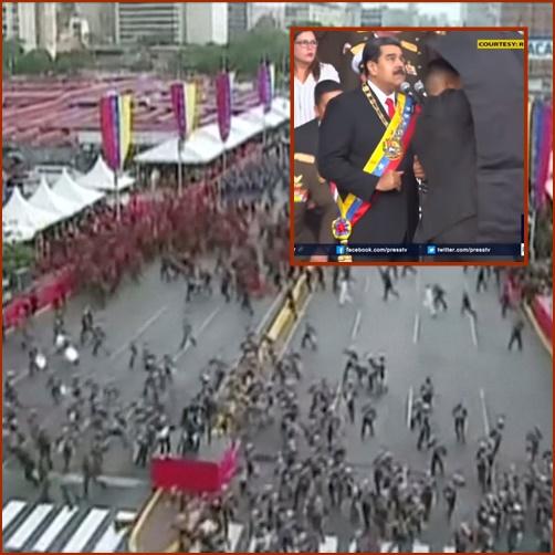 "In Pics : ระทึก!! ""มาดูโร"" รอดตายหวุดหวิดจาก ""โดรนติดระเบิด"" ระหว่างพิธีสวนสนาม โทษฝีมือ ""ประธานาธิบดีโคลอมเบีย"""