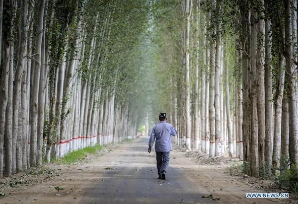 ชาวอุยกูร์เดินไปตามถนนในหมู่บ้านเมืองโฮทัน (Hotan City) ภาพ 6 มิ.ย. 2018 (ภาพ โดยซินหวา)