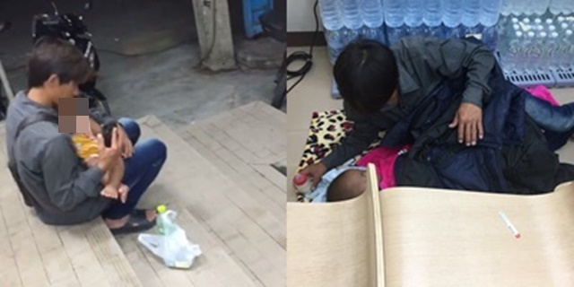 สุดซึ้ง! หนุ่มปลอบใจ 2 พ่อลูกอ่อน หลังแฟนหนีไปกับชู้ ชื่นชมพนักงานเซเว่นฯจัดที่นอนให้เด็กน้อย
