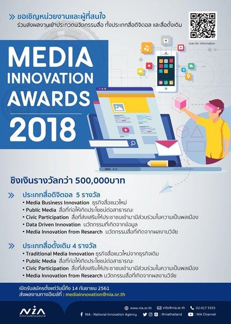 """สำนักงานนวัตกรรมแห่งชาติ เชิญส่งผลงานเข้าประกวดนวัตกรรมด้านสื่อ """"Media Innovation """""""