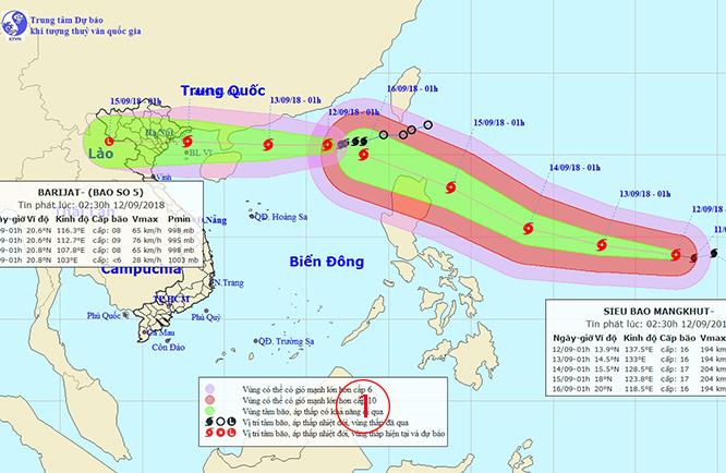 """ต้องรีบดู.. ซูเปอร์ไต้ฝุ่น """"มังคุด"""" ไล่กวดพายุ """"บารีจาต"""" ในทะเลจีนใต้"""