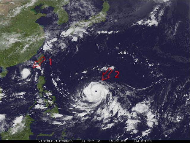 <br><FONT color=#00003>ดูภาพดาวเทียมฮิมาวาริอีกครั้ง -- ตำแหน่งของพายุสองลูก. </a>