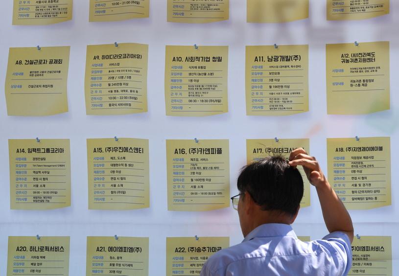 ชายชาวเกาหลีใต้ยืนดูประกาศรับสมัครงานในมหกรรมตลาดแรงงานซึ่งจัดขึ้นที่กรุงโซล เมื่อวันที่ 4 ก.ย.