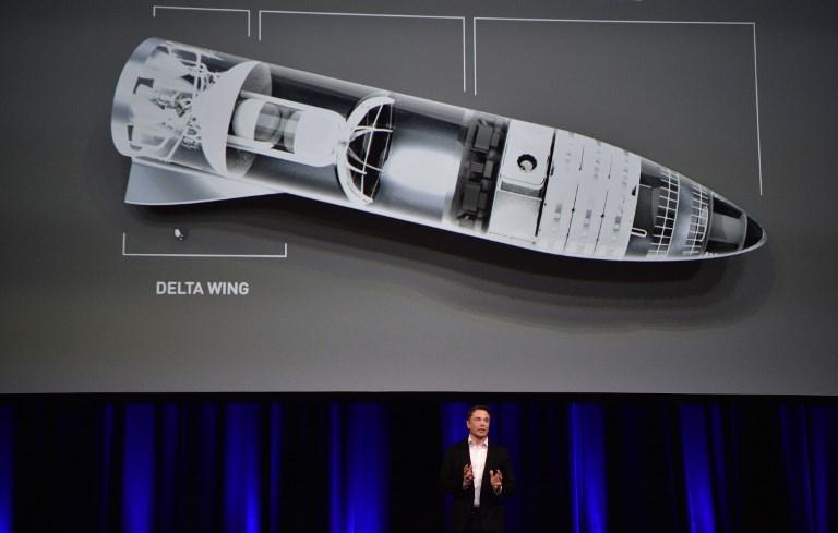 อีลอน มัสก์ แนะนำจรวดรุ่นใหม่ BFR ที่ออสเตรเลียเมื่อปีที่ผ่านมา (PETER PARKS / AFP)