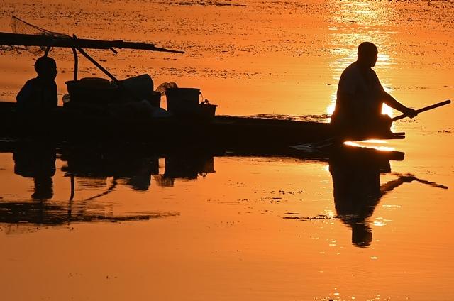 ชาวประมงแคชเมียร์พายเรือของเขาในช่วงพระอาทิตย์ตกที่ทะเลสาบดัลในเมืองศรีนครเมื่อวันที่ 12 กันยายน