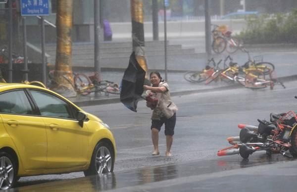 สาวจีนเกือบจะล้มใกล้ต้นไม้ที่หักโค่นลงมากลางถนนในเซินเจิ้น ขณะที่ไต้ฝุ่นมังคุดกำลังใกล้เข้ามาในวันที่ 16 ก.ย. (ภาพ รอยเตอร์ส)