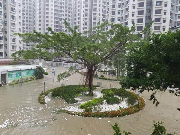 โฟมที่ถูกพัดมากับคลื่นสูงบริเวณเขตที่อยู่อาศัยเซี่ยงฮวาชุน (Heng Fa Chuen) ฮ่องกงเมื่อวันที่ 16 ก.ย. (ภาพ รอยเตอร์ส)