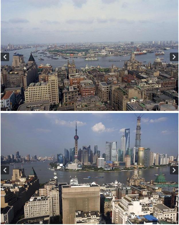 ผู่ตงในอดีตเมื่อ 30 ปีก่อน (บน) เมื่อมองจากฝั่งผู่ซี เทียบกับปัจจุบัน (ภาพรอยเตอร์ส)