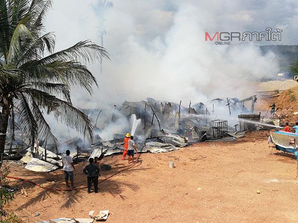 ไฟไหม้แคมป์คนงานก่อสร้างชาวเมียนมา ในชุมชนเทศบาลเมืองคอหงส์หนีตายกันวุ่น