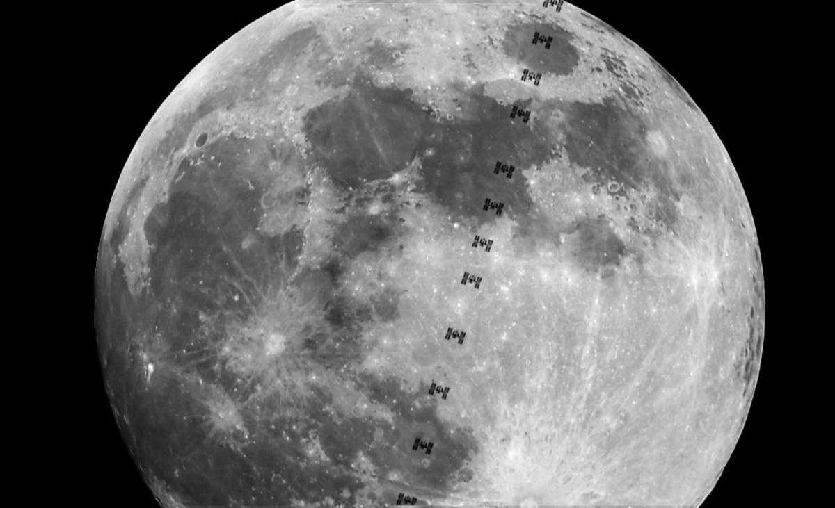 ภาพถ่ายสถานีอวกาศนานาชาติ ISS ผ่านหน้าดวงจันทร์ เหนือท้องฟ้าจังหวัดเชียงใหม่  (ภาพโดย : สิทธิพร  เดือนตะคุ / Camera : Nikon D750 / Lens : Vixen VMC200L / Focal length : 1950 mm. / Aperture : f/9.5 / ISO : 800 / Video mode)