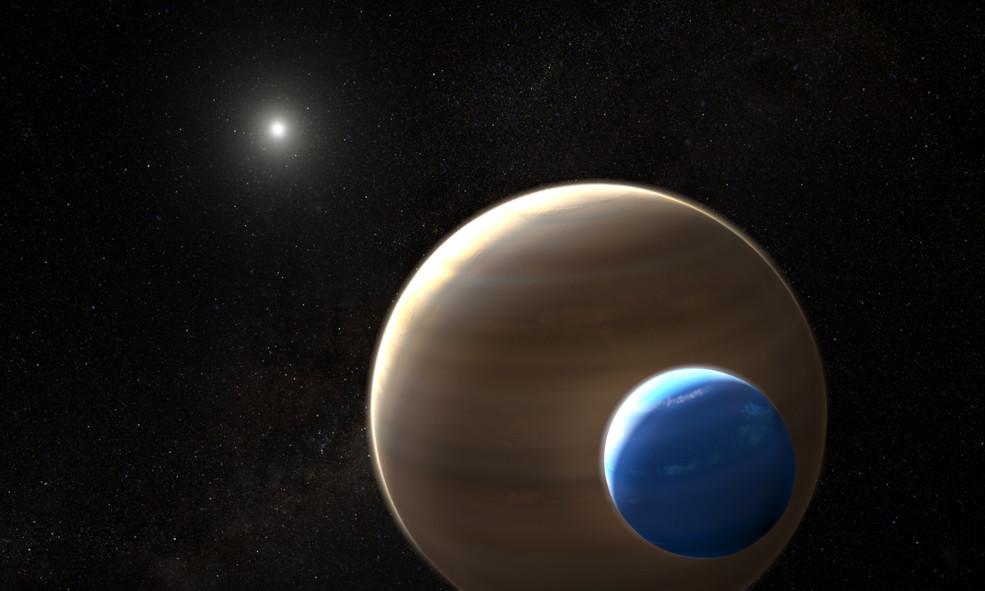 ภาพจำลองจากศิลปิน ซึ่งจำลองวัตถุอากาศที่น่าจะเป็นดวงจันทร์โคจรรอบดาวเคราะห์ก๊าซขนาดใหญ่ (Credits: NASA/ESA/L. Hustak)