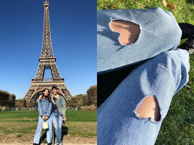 """เปิดตัวหวานเวอร์ """"ณเดชน์"""" บินจากอังกฤษเจอ """"ญาญ่า"""" ที่ฝรั่งเศส ใส่เสื้อคู่แชะภาพหน้าหอไอเฟล"""