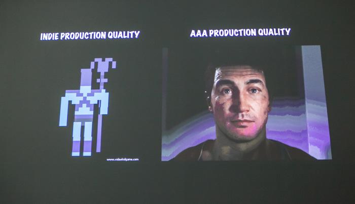 ตัวละครเกมอินดี้ (ซ้าย) ใช้เวลาสร้าง 3 ชั่วโมง ตัวละครเกม AAA (ขวา) ใช้เวลาสร้าง 3 เดือน