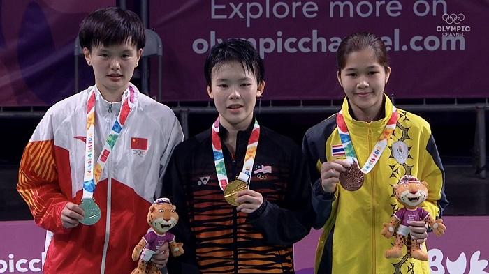 """""""น้องจิว"""" ขนไก่ดาวรุ่งไทย ซิวเหรียญทองแดง แบดมินตันยูธโอลิมปิก"""