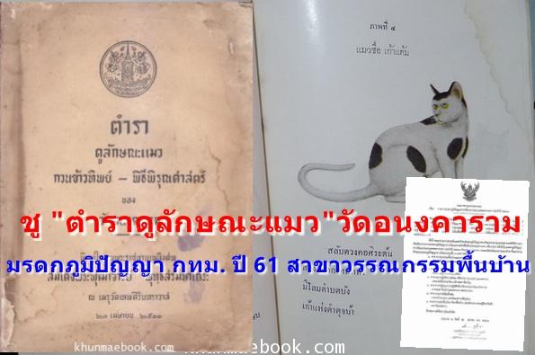 """ชู """"ตำราดูลักษณะแมว""""วัดอนงคาราม เป็น มรดกภูมิปัญญา กทม. ปี 61 สาขาวรรณกรรมพื้นบ้าน"""