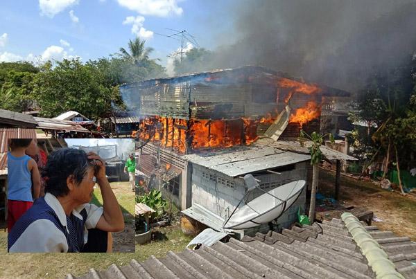 เข่าทรุดนั่งร้องไห้! ไฟไหม้บ้านคุณยายเมืองช้างวอดทั้งหลัง เผาเกลี้ยงทรัพย์สินหามาทั้งชีวิต