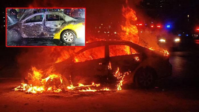 เพลิงลุกไหม้แท็กซี่ติดแก๊สแอลพีจีวอดทั้งคัน