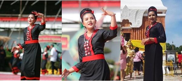 """ตะลึง """"พรพรรณ"""" มือเซตทีมชาติไทย แต่งสวยรำบวงสรวงพระธาตุพนม"""