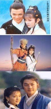 นิยายกิมยังยืนยงในโลกบันเทิงทั้งจอเงิน จอแก้ว ในภาพ: คู่ขวัญยอดนิยมในภาพยนตร์มังกรหยกภาคแรก ก๋วยเจ๋งและอึ้งย้ง ภาพบนสุดเวอร์ชั่นปี 1983 ของทีวีบีแห่งฮ่องกง สวมบทบาทโดยหวงยื่อฮวา และองเหม่ยหลิง ภาพกลางเวอร์ชั่นปี 1994 ของทีวีบีแห่งฮ่องกง สวมบทโดยจางจื่อหลิน และจูอิน ภาพล่างวุด เวอร์ชั่นปี 2003 ของซีซีทีวี สวมบทโดยหลี่ย่าเผิง และโจวซิ่น