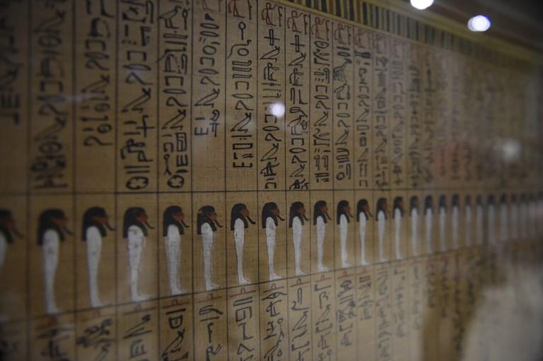 ภาพของยูยาและธูยาในกระดาษปาปิรัสที่จัดแสดงภายในพิพิธภัณฑ์อียิปต์ระหว่างการฉลอง 116 ปีของพิพิธภัณฑ์ (Khaled DESOUKI / AFP)
