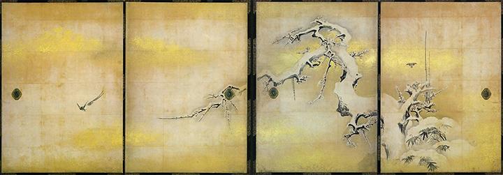 """""""ภาพนกน้ำ ไผ่ และต้นบ๊วยกลางหิมะ"""" (Setsuchū Baichiku Yūkin-Zu)"""