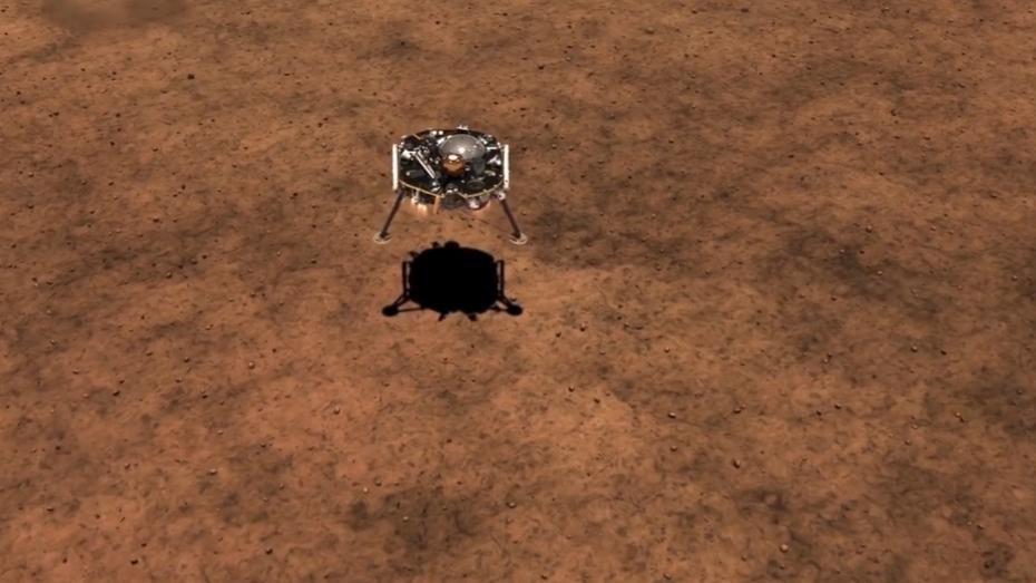 ภาพจำลองเหตุการณ์ยานอินไซต์ลงจอดดาวอังคาร (นาซา)