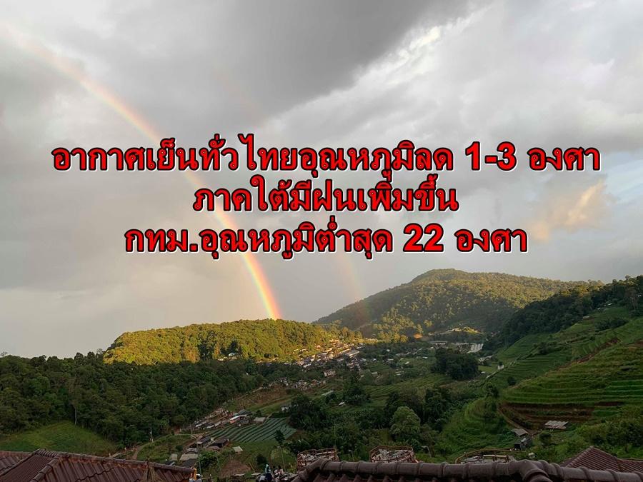 อากาศเย็นทั่วไทยอุณหภูมิลด 1-3 องศา  ภาคใต้มีฝนเพิ่มขึ้น กทม.อุณหภูมิต่ำสุด 22 องศา