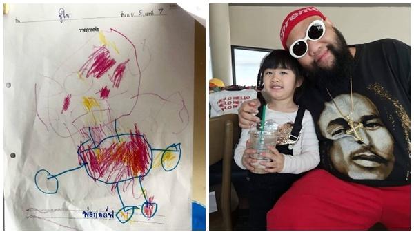 """เหมือนมั้ย? เมื่อ """"น้องชูใจ"""" วาดรูป """"พ่อกอล์ฟ"""" ส่งเป็นการบ้าน"""