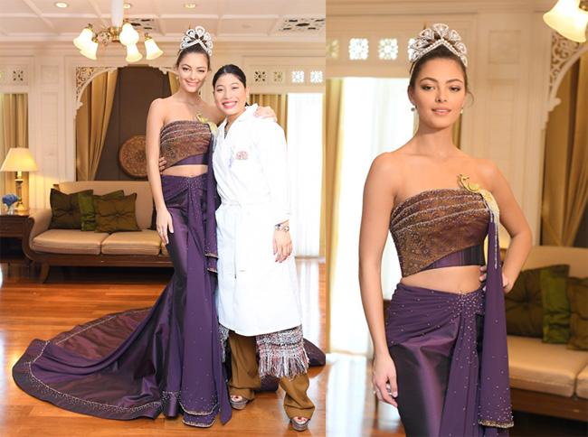 """สวยสง่า """"พระองค์หญิงฯ"""" ทรงประทานชุดราตรีผ้าไหมไทยให้ """"มิสยูนิเวิร์ส 2017"""""""