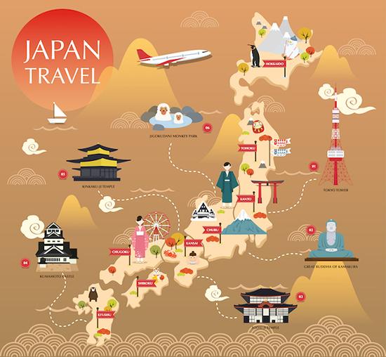 แผนที่แลนด์มาร์คในประเทศญี่ปุ่น