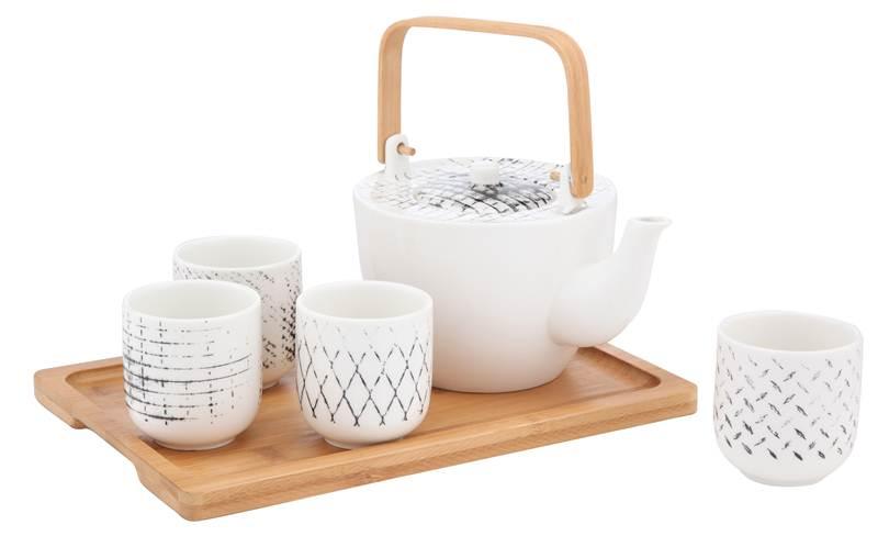ชุดกาน้ำชา+ถ้วยและถาด (6ชิ้นชุด) รุ่น NIXEN ราคา990.-