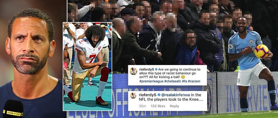 """""""ริโอ"""" เดือด """"สเตอร์ลิ่ง"""" ถูกเหยียดผิว แนะพรีเมียร์ลีกคุกเข่าแบบ NFL"""