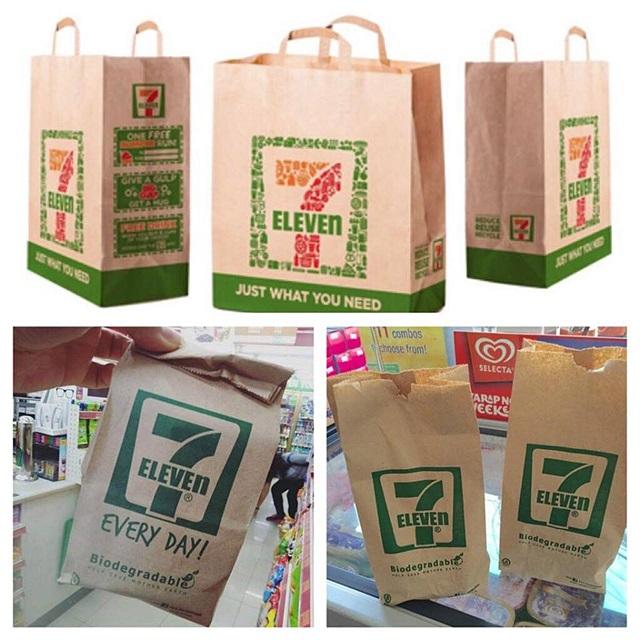 """ลูกค้า 7-Eleven เฮ!! """"เปลี่ยนจากถุงพลาสติกเป็นถุงกระดาษ"""" แต่ที่เมืองไทย กลับเฮ! ไม่เต็มปาก"""