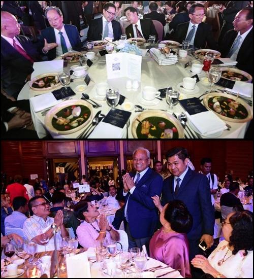 (บน) งานเลี้ยงระดมทุนของพรรคพลังประชารัฐ (พปชร.) (ล่าง) งานเลี้ยงระดมทุนของพรรครวมพลังประชาชาติไทย