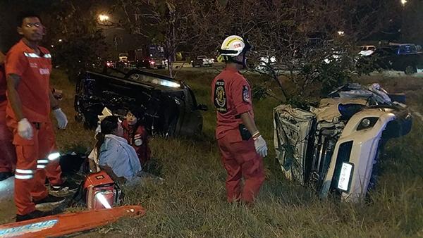 รถยนต์ชนกันหลายคันบนถนนมอเตอร์เวย์  ขาเข้ากรุงเทพฯ ทำดับ 2 เจ็บเพียบ