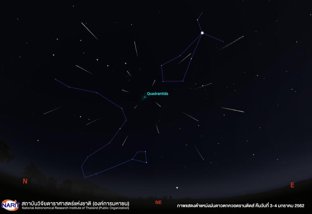 ภาพแสดงตำแหน่งฝนดาวตกควอดรานติดส์ 62