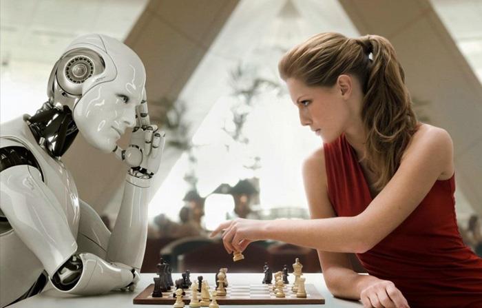 (ที่มาภาพ: https://emotionalintelligenceproject.com/enlightened-robot/the-human-singularity/attachment/ai-vs-human-chess_banner-cropped  )