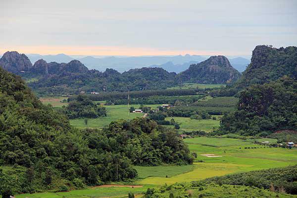 ภูป่าเปาะ-วิวของท้องทุ่งนาท่ามกลางหุบเขาแวดล้อมเมื่อมองจากยอดภูป่าเปาะ
