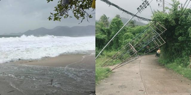 """พายุ """"ปาบึก"""" ออกฤทธิ์ ทำเสาไฟฟ้าหัก ไฟฟ้าสมุยดับเป็นบางส่วนแล้ว"""