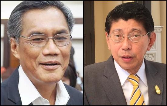 (ซ้าย) นายอิทธิพร บุญประคอง ประธาน กกต. (ขวา) นายวิษณุ เครืองาม รองนายกรัฐมนตรี