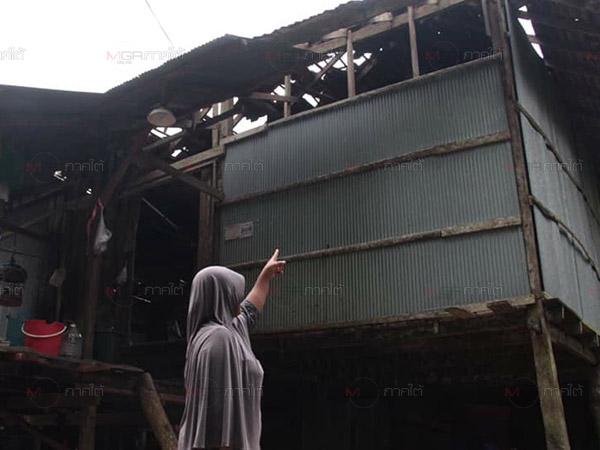 ผลกระทบลมกระโชกแรงที่บาเจาะ พัดหลังคาปลิว ต้นไม้ล้ม ชาวบ้านไร้ไฟฟ้าใช้งาน